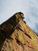 Past the overhanging difficulties. <br /> <br />Photo by Jim Desrosiers.