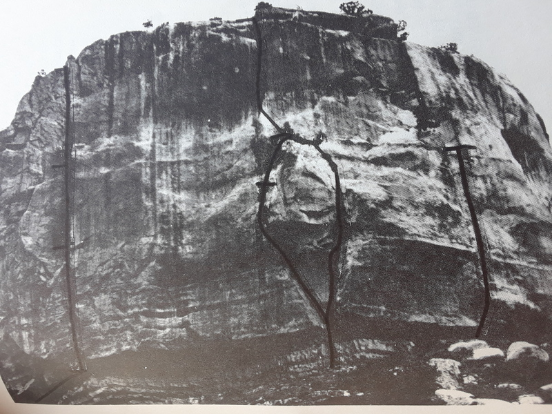 """The first pitch is indicated by the rightmost black line (p. 43 of """"Southwest Rock""""). The black line ends below the ledge where the juniper was. The ledge and tree (where our first pitch ended) are farther up and left."""