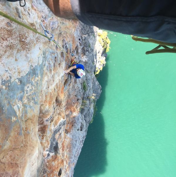 Snook approaching the crux of pitch 3