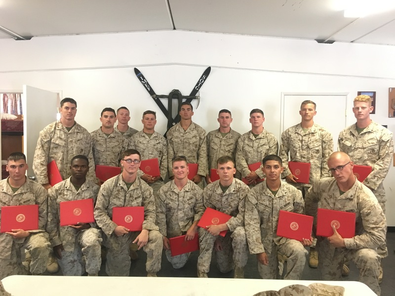 My graduating class of 11 Assault Climbers and 5 Tersh Masters(guys that fallow the Assault climbers on lead).  We started with a class of 42 marines.
