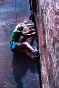Rock Climbing Photo: This crack is on the S end of Battleship.  We set ...