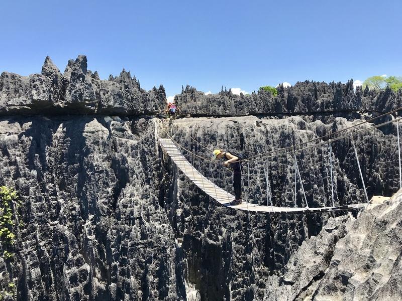 Famous suspension bridge across couple 100 ft ravine in Big Tsingy