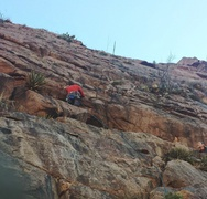 Beginning the first ascent of Machete. Scot D on it! Brent B on the right, keeping an eye on things.