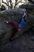 "Rock Climbing Photo: Starting ""Beak"" mantle with a heel hook,..."