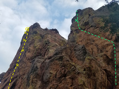 This shows Siberian North Face in green and Raptors in Cellophane in yellow. The camera angle makes the walls look much less steep than they are.