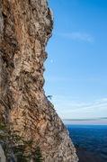 ItaliAnna (blue helmet) lost in a sea of rock...