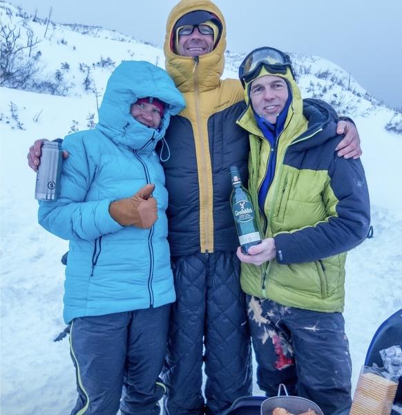 Anna Pfaff, Will Mayo and Joe Terravecchia celebrating on top of Dreamline.