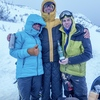 Anna Pfaff, Will Mayo and Joe Terravecchia celebrating on top of Dreamline.