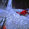 Casey Shaw on the first ascent of Captains Courageous. 2000' WI 5+. 1999