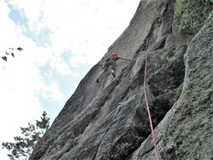 Rock Climbing Photo: Brightened up the photo by PA... On the crux of th...