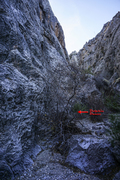 Rock Climbing Photo: Dolphin Dance starts slightly up-canyon beyond the...