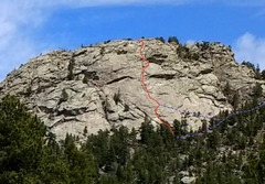 Sisters Rock, viewed from the southwest, with Middle Way highlighted in red, and the approach and ramp in blue.