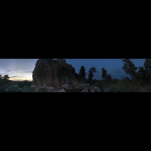 Coyote Crag panorama at sunset, with a full moon rising on the right. Julia Tovar and Jeremy Saqr descending. Photo by Nicole McCarthy