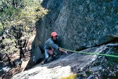 "Rock Climbing Photo: Werner Braun follows the 5.10c crux of ""Chow,..."