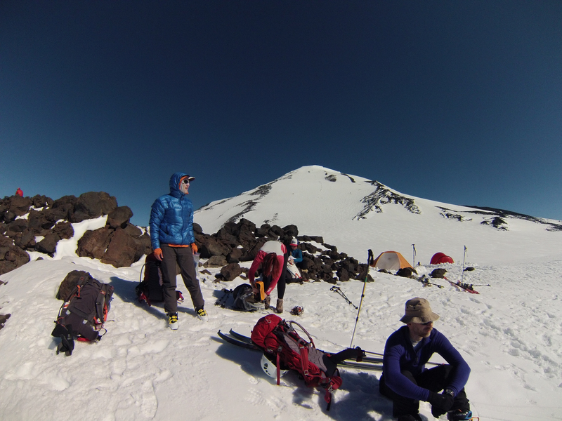 Lunch counter break before summit and ski the SW Chutes.