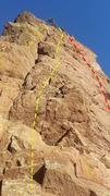 Umbrella Tree Rock: Left of Center route in yellow and Center route in red.