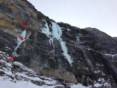 General Malaise is the smaller flow coming out of a cave down and left of Suffer Machine. Three pitches, two and three being excellent. Could probably be linked into Suffer Machine with a traverse from the top of p3.