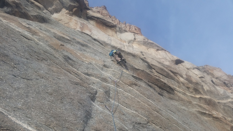 You thought you saw holds on this wall...but you were wrong.<br> <br> Aaron on the lead through Simple Mind.
