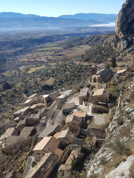Another peaceful day looking across the quiet rooftops of Abella de la Conca.