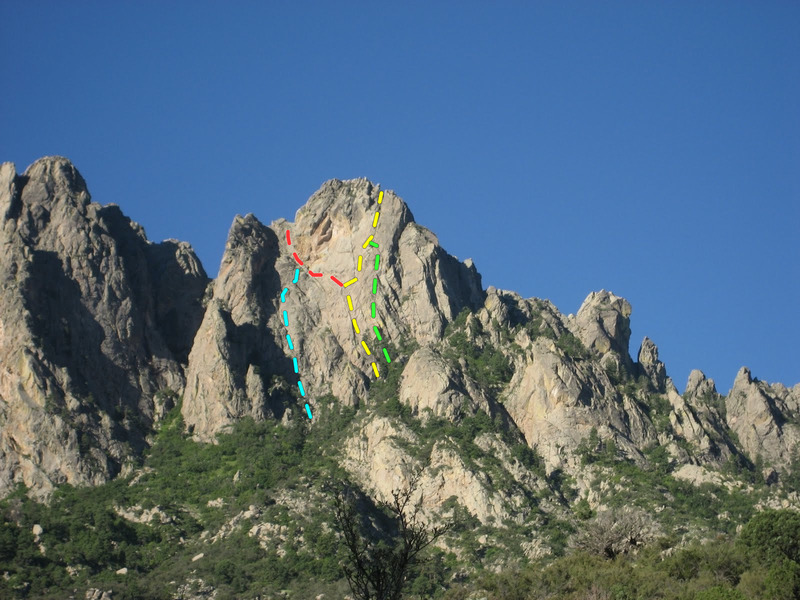 Topo of the Slung Horn Route (yellow). Also shown: topo of Pirates of the Carabiner (blue) and likely topo of the Bowl Route (red) and Lost Carabiner (green). Photo credit: Aaron Hobson.
