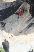 Dan Jerke and Ryder Stroud project the crux pitch (P3) on Siege of the House Lizards. This pitch has yet to be freed.