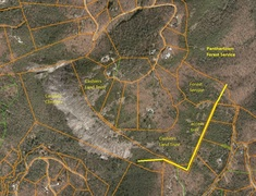 Property plats at Laurel Knob. Climber/hiker accessible lands are noted.