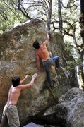 Rock Climbing Photo: Nature Nazi Arête (V6/7)- Lieback slap. Photo: Mo...