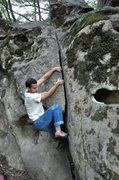 "Rock Climbing Photo: Starting up the 1 1/4"" (V1) crack at the Indi..."