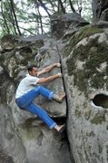 "Further up the 1 1/4"" crack (V1) at Indian Cracks in Sanborn Skyline County Park, CA. Photo: MorComm"