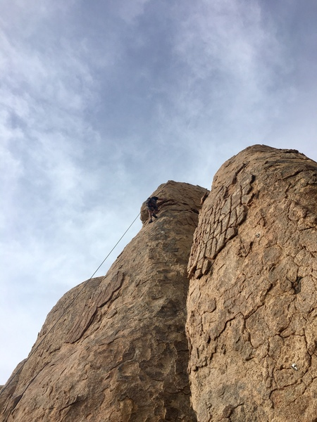 Erik working out the crux.
