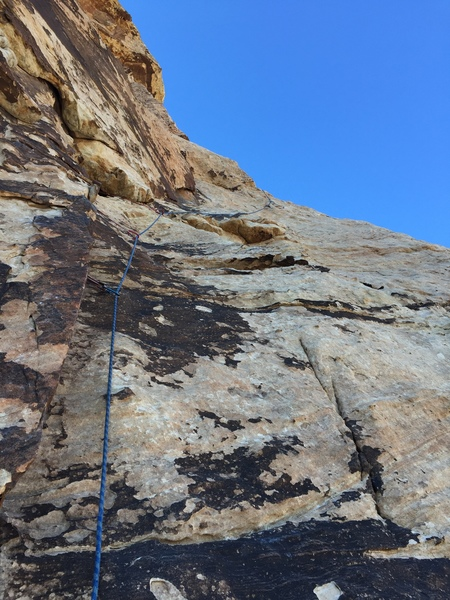 View upwards towards pitch 2. If you can't see the bolt near the skyline about 40 feet above you when looking for an anchor position for pitch 1, keep climbing.
