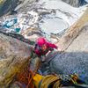 Climbing past final chockstone