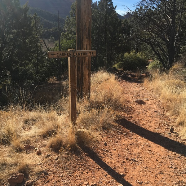 Sign for the Casner Canyon Trail (follow this left).