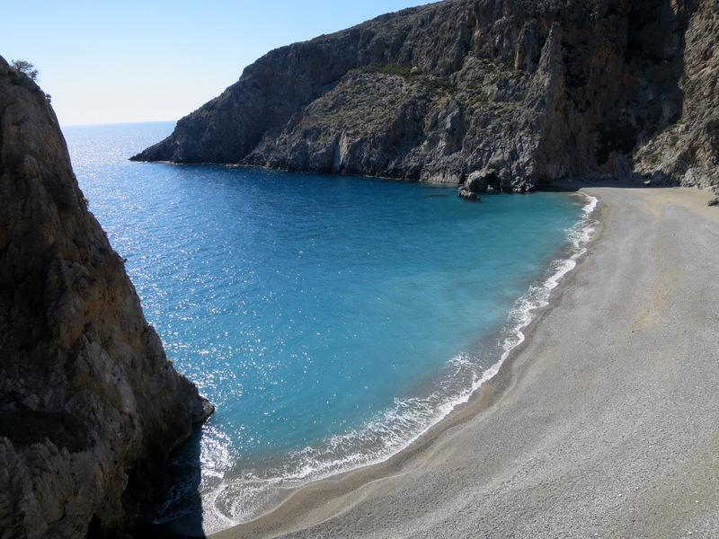 The beach at Agiofarango in Crete. This is a beautiful spot to climb.