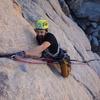 Climber leading Sail Away.
