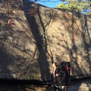 Tried bouldering it, ate it from the top a few times. TR'd once, then bouldered for the send. I thought the setup and lunge for the lip was harder than the mantel.