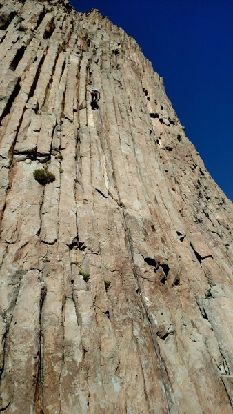 Pitch 1 - the elevator shaft climbs over the obvious white rock