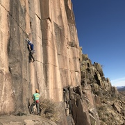 Rock Climbing Photo: Fred giving me a a catch on my FA send. Thanks Fre...