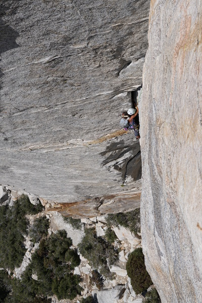 Through what we called off-width.  First multi-pitch climb in 10 years!