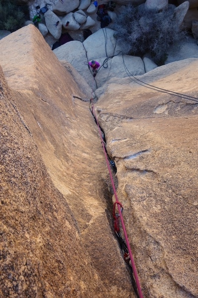 Looking down while leading. Really nice crack climb.