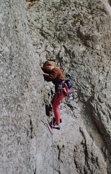 "Climber leading ""You Name It"" (5.6 ***) back in the fall of '93 - an unknown route on an undocumented crag just uphill from the parking lot pictographs"