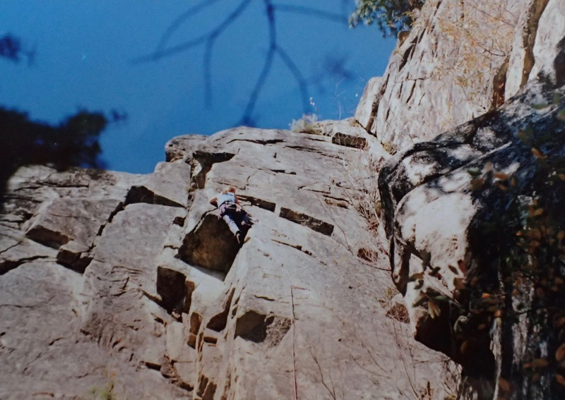 At the crux on the first ascent 10/3/93. (Photo by Eric Howard)