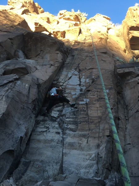 Joy Doucette on the crux lower section of the route.