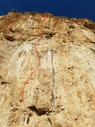 Start up Dead Sea and cut right after the 3rd bolt around the block (a few runners keep your rope happy) From the top of the block (no hands rest) you move up and left traversing back right to the single brown tufa above. This is where the business starts, 2 bolts of wrestling a single tufa that progressively gets thinner brings you to a rest followed by tricky climbing to the chains.