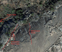 A topo of the area and the first route listed for it.