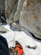 Rock Climbing Photo: Looking down one of the sun-rotten ice pitches in ...