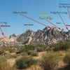 This is an update to a photo posted. Crags were name by those climbers who first attain the summits of these formations. The original names are posted here.