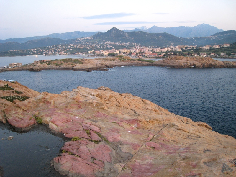 Looking from the Les Iles back to L'Île-Rousse.  Great pink and orange granite!