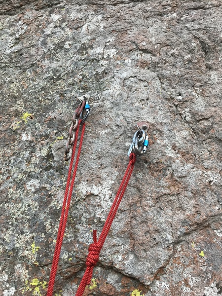 Bolts on rage are up and left of the climb, be sure to put a .75 directional by the boulder directly above the end of the climb or sling the boulder otherwise the swing makes it hard to get back on.