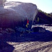 """Literally only a couple small """"holds"""" on this arete. Probably all of stout V7 and dynamic. Fun Stuff. """"Nose Candy"""" V7"""